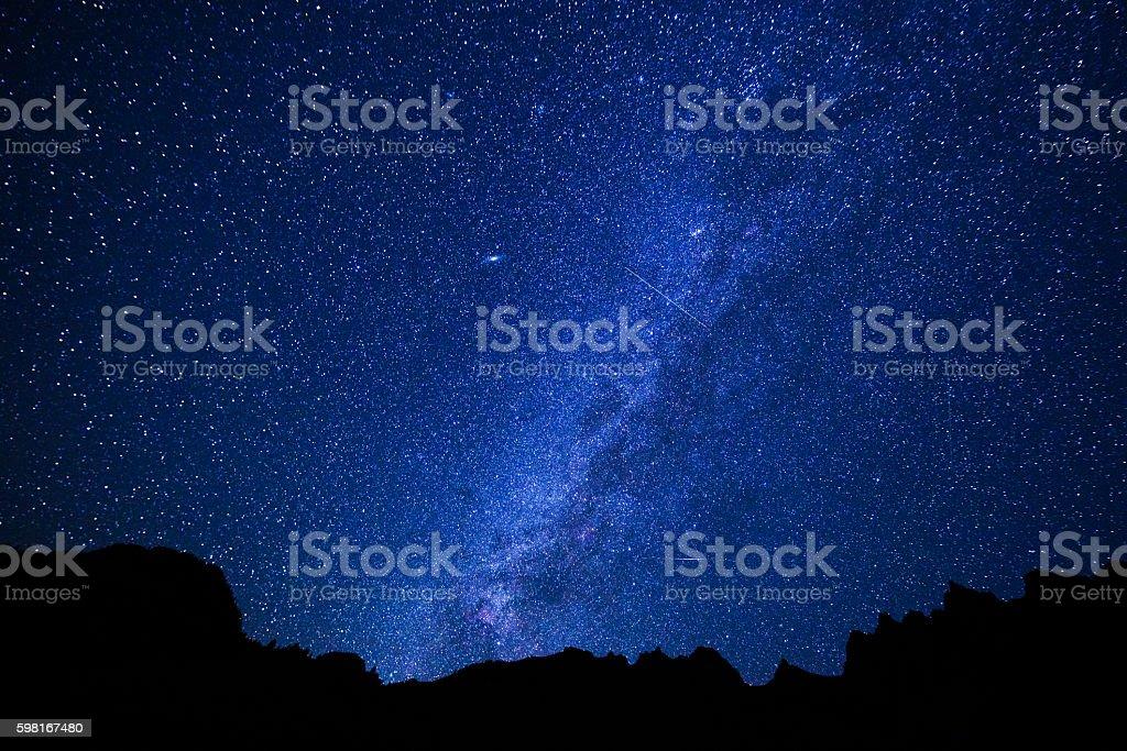 Dark Night and Stars Reflecting in Maroon Lake stock photo