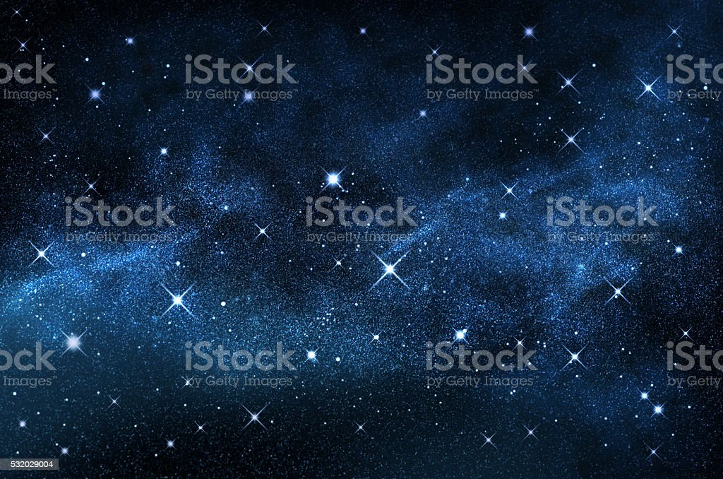Dark night sky with sparkling stars and planets,illustration stock photo