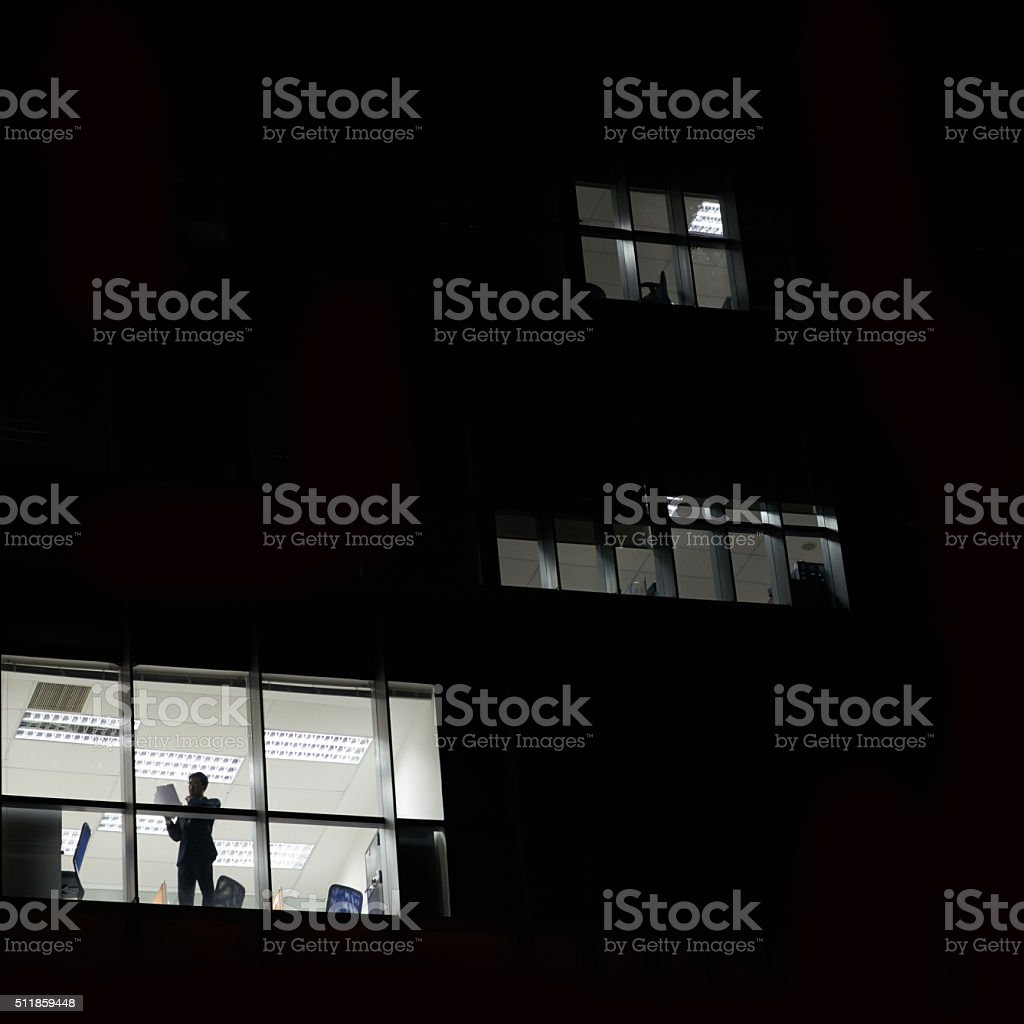 Dark office building stock photo