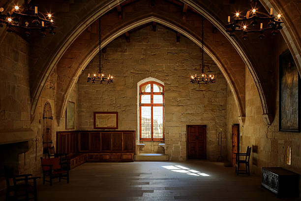 dark old room - castle stock photos and pictures