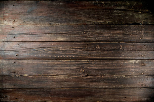 dark old rustic wooden background - top view, wood table, empty imagens e fotografias de stock