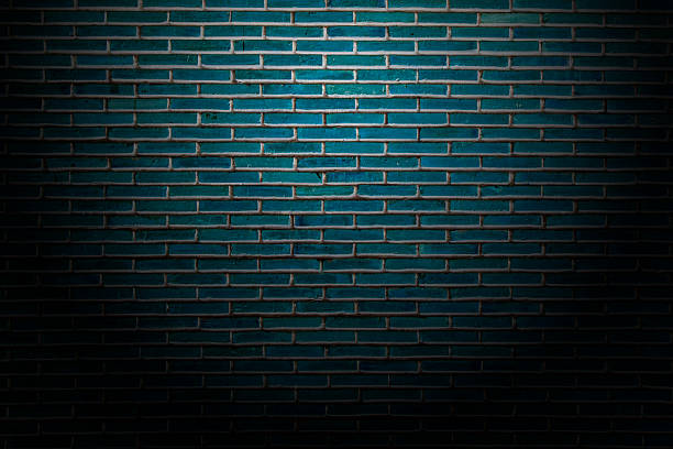 Dark or Blue Black Color Brick wall background stock photo