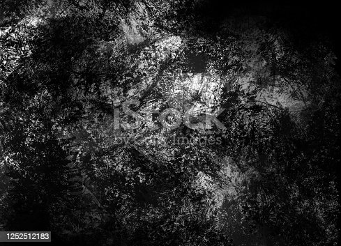 534130204 istock photo Dark painted overlay surface in black and white tones. Monochrome dynamic paint spots on wall. Contemporary backdrop 1252512183