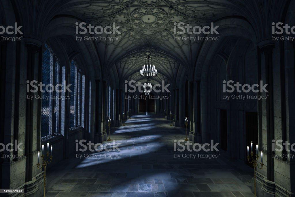 Dark Palace Hallway with lit candles and moonlight shining through the windows, 3d render. - Zbiór zdjęć royalty-free (Antyczny)