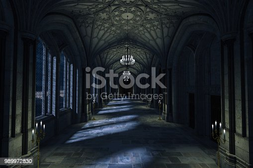istock Dark Palace Hallway with lit candles and moonlight shining through the windows, 3d render. 989972830