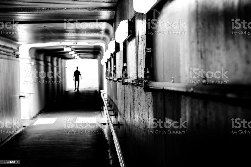 Dark Pedestrain Tunnel stock photo