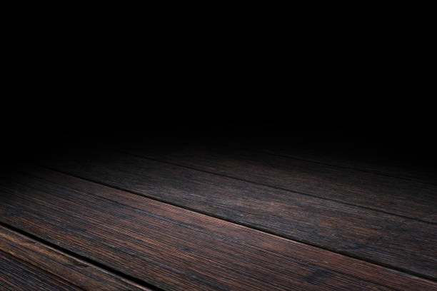 dark plank old wood floor texture perspective background for display or montage of product,mock up template for your design. - prospettiva lineare foto e immagini stock