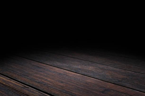 dunkle diele altholz boden textur perspektive hintergrund für anzeige oder montage des produkts, mock vorlage für ihr design. - fluchtpunktperspektive stock-fotos und bilder