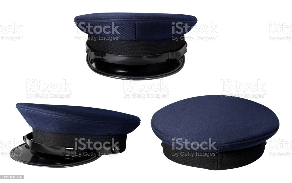 Dark Police cap without badge isolated on white with clipping path stock photo
