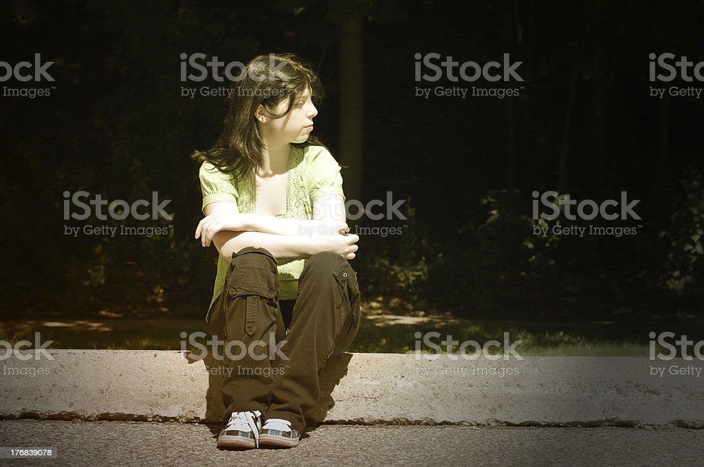 Dark Portrait Girl, Late Teens stock photo