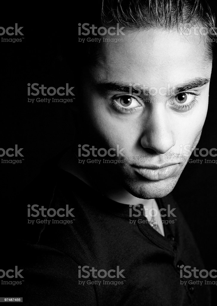 Dark portrait of one hispanic handsome man royalty-free stock photo