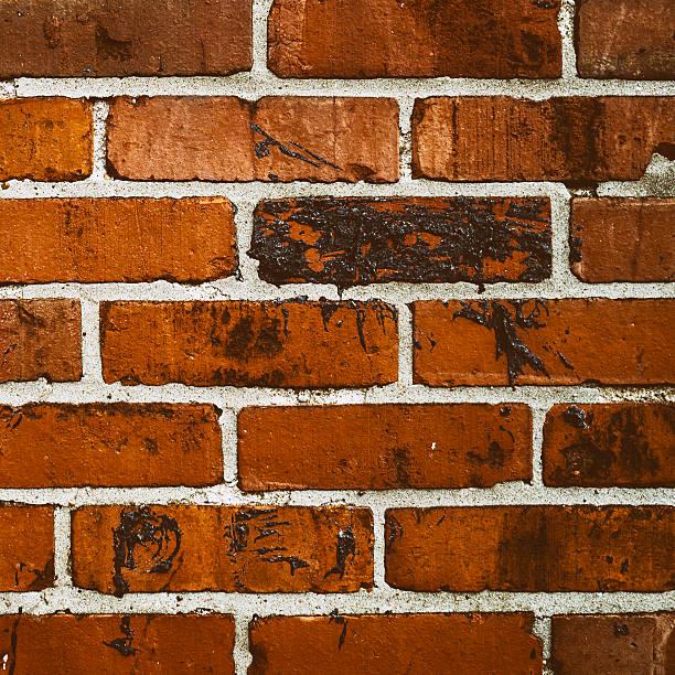 Dark red brick wall square stock photo