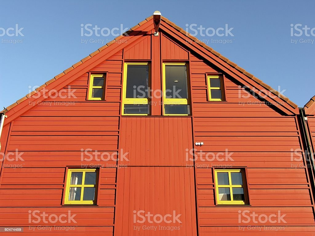 Dark Red Gable Sky Blue royalty-free stock photo