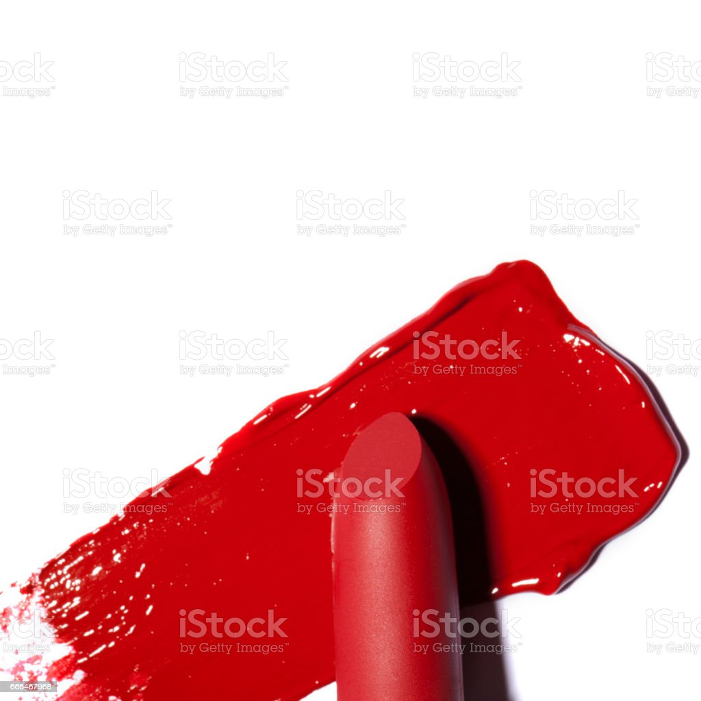 Dark red lipstick on white background. - foto de acervo