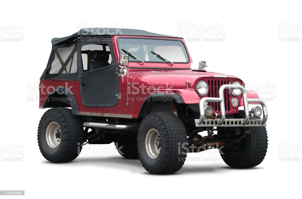 Dark red soft top SUV on white background stock photo