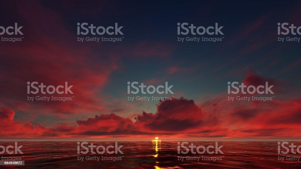 dark red sunset clouds in the ocean Lizenzfreies stock-foto