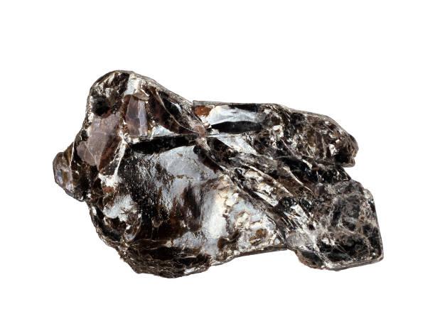dark reddish-brown phlogopite mica crystals on a white background - łupek łyszczykowy zdjęcia i obrazy z banku zdjęć
