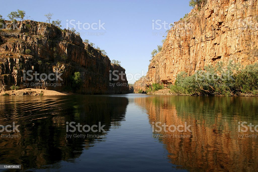 Dark river winding through the Katherine Gorge stock photo