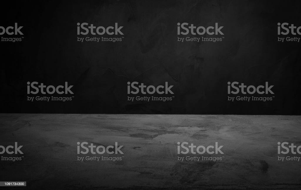 Dark room concrete background. Black wall and floor interior background with space horizontal stock photo