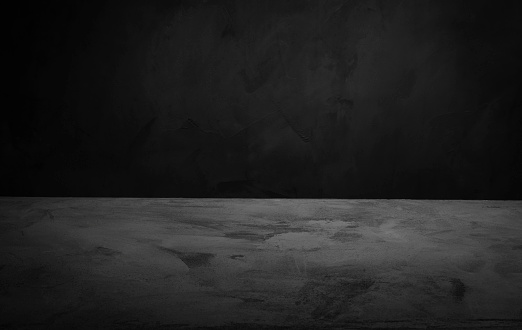 Dark Room Concrete Background Black Wall And Floor Interior Background With  Space Horizontal Stock Photo - Download Image Now