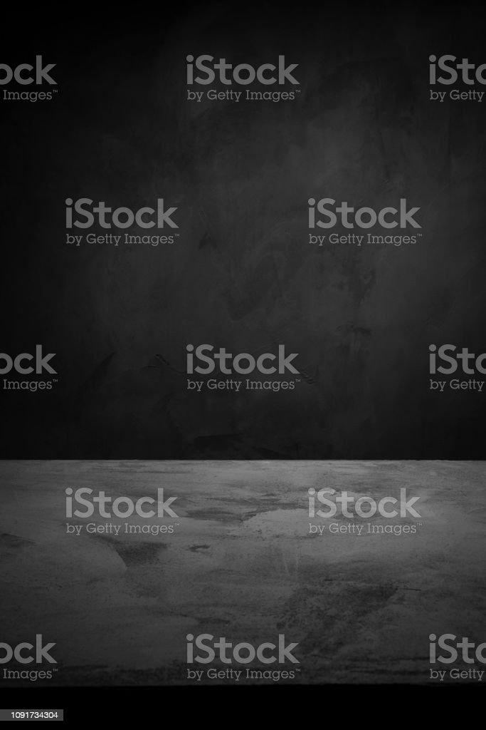 Dark Room Concrete Background Black Wall And Floor Interior