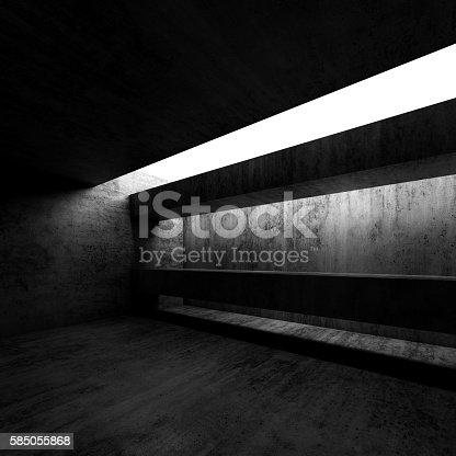 istock Dark room interior. Modern architecture background 585055868