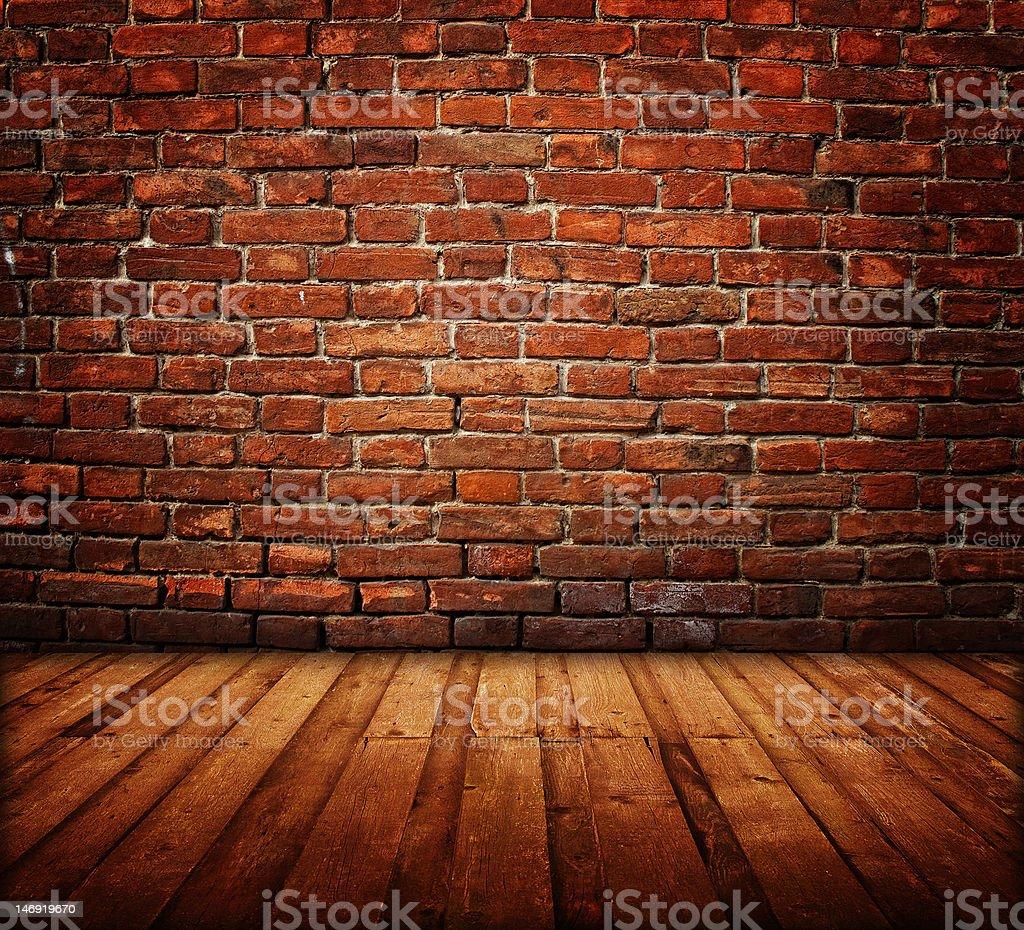 dark room interior dark room interior - wooden floor and brick wall Apartment Stock Photo