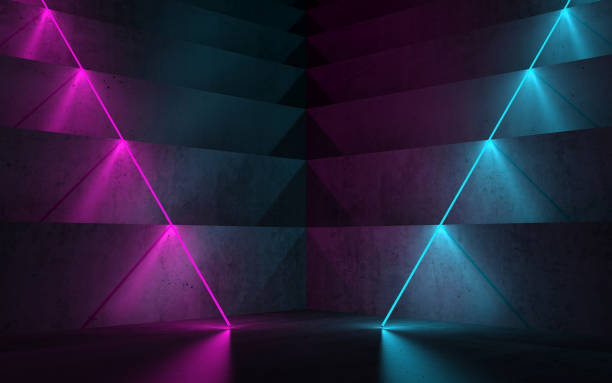 Dark room with colorful neon lights, 3 d stock photo