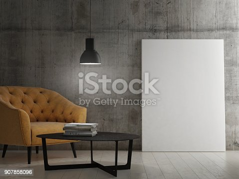 istock Dark room with mock up poster 907858096