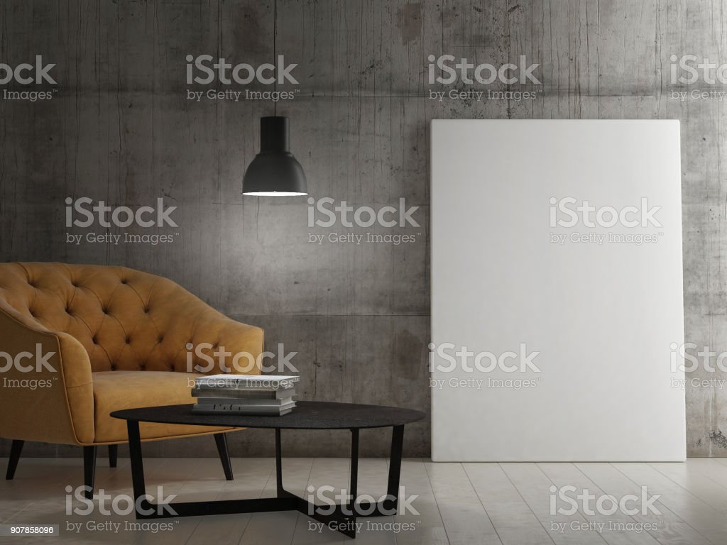 Dunklen Raum mit Mock-up poster – Foto
