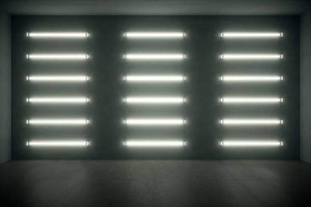 dark room with wall neon lights - fluorescent light stock pictures, royalty-free photos & images