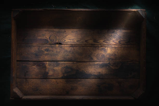 Dark rustic wood box background stock photo