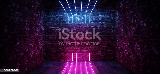 istock Dark Sci Fi Modern Futuristic Empty Grunge Brick Wall Room  Purple Blue Pink glowing Lights Concrete Floor Neon Vertical Line Light Shapes Empty Space 3D Rendering 1088759368