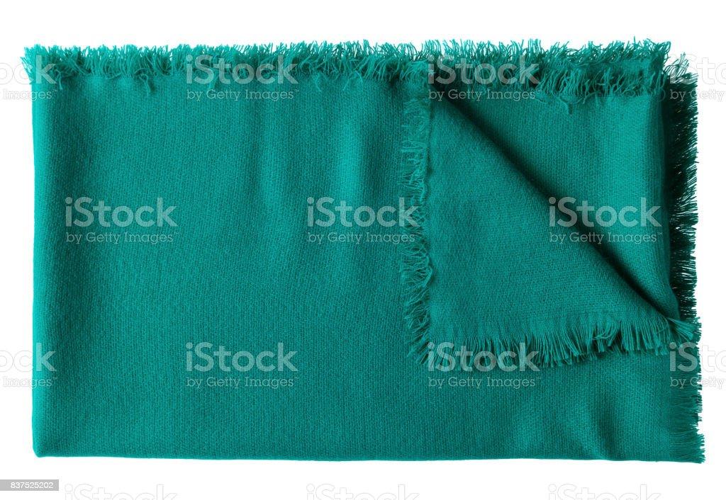 Dark sea color jade folded wool shawl blanket isolated on white