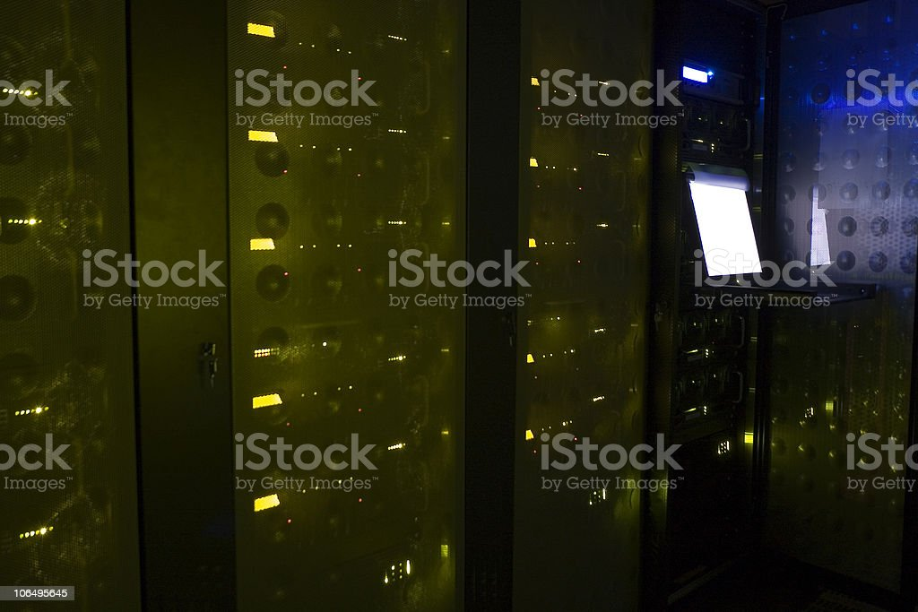 Dark Server Room stock photo