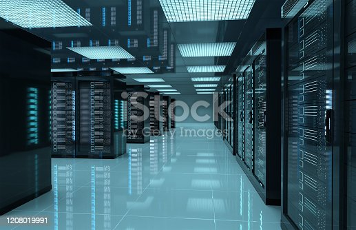 Dark servers data center room with computers and storage systems 3D rendering