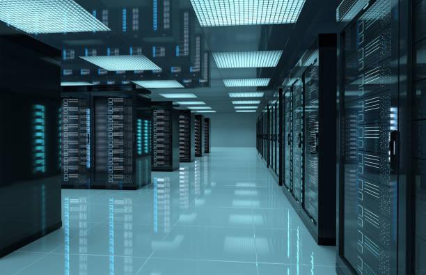 donkere servers datacenterkamer met computers en opslagsystemen 3d-rendering - datacenter stockfoto's en -beelden