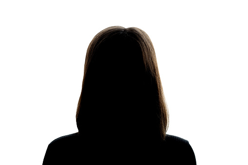 Dark silhouette of a girl on a white background, the concept of anonymity