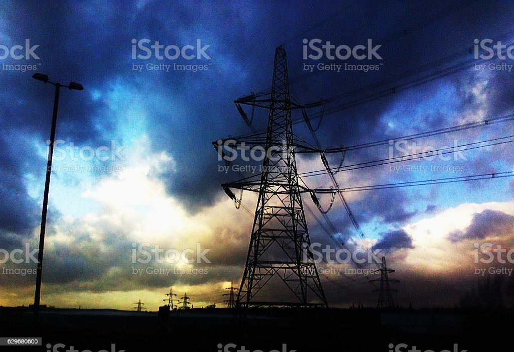 Dark Skies Pylon Motorway stock photo