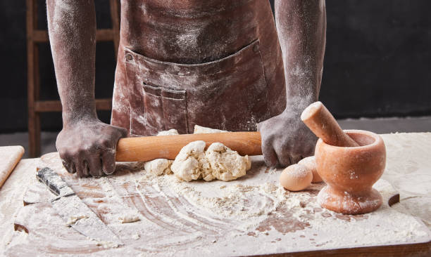 Dark skin baker man kneads dough in the kitchen pastry chef prepares picture id1221193518?b=1&k=6&m=1221193518&s=612x612&w=0&h=nxh8lejucodok f3f8obwytzvzw6ridb 2u1xld2o9u=