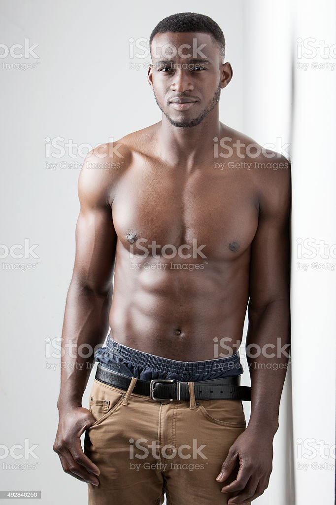 Dark Skinned Male Fitness stock photo