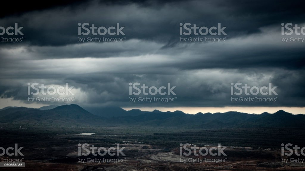 Dark Sky and cloud. Rain coming on Mountain. stock photo