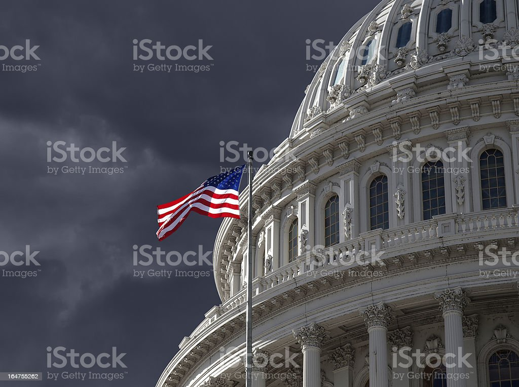 Dark Sky over US Capitol Building stock photo