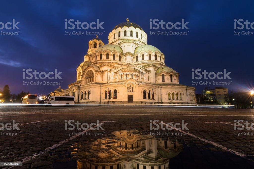 Dark Sofia cathedral stock photo