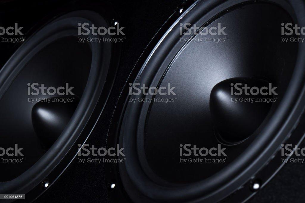 Dark speaker, loudspeaker, part of the music column stock photo