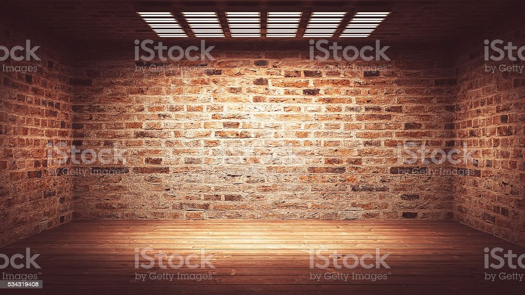 Dark, spooky, empty office or basement room stock photo