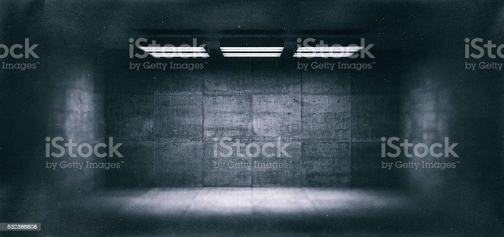Dark, spooky, empty office room royalty-free stock photo
