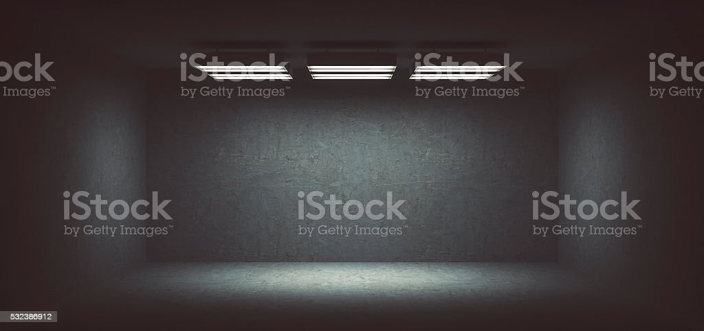 Dark, spooky, empty office room stock photo