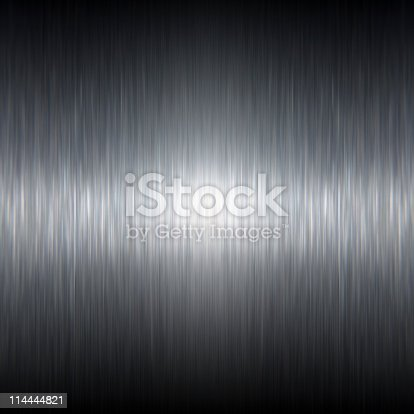104243412 istock photo Dark Stainless Steel Brushed Metal Texture with Reflective Highlights 114444821