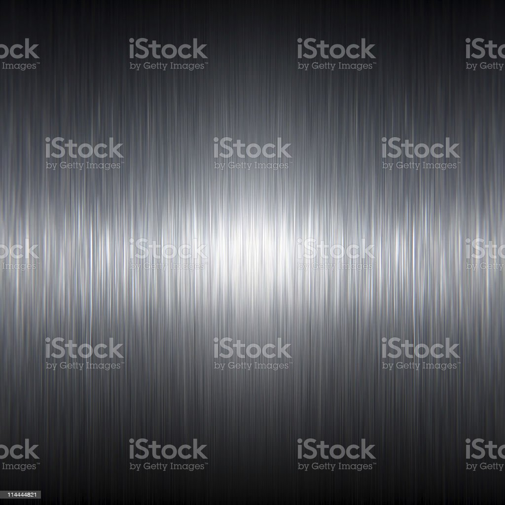 Dark Stainless Steel Brushed Metal Texture with Reflective Highlights stock photo